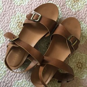 Bamboo wedges tan